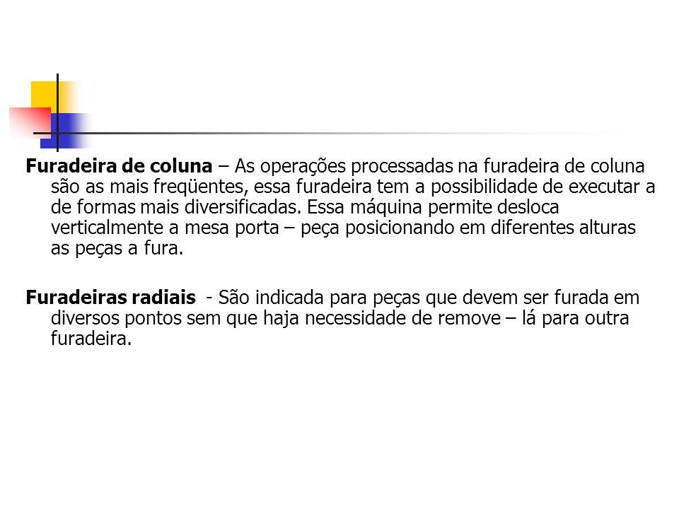 Furadeira de coluna – As operações processadas na furadeira de coluna são as mais freqüentes, essa furadeira tem a possibilidade de executar a de form