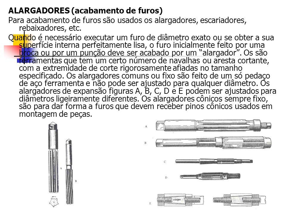 ALARGADORES (acabamento de furos) Para acabamento de furos são usados os alargadores, escariadores, rebaixadores, etc. Quando é necessário executar um