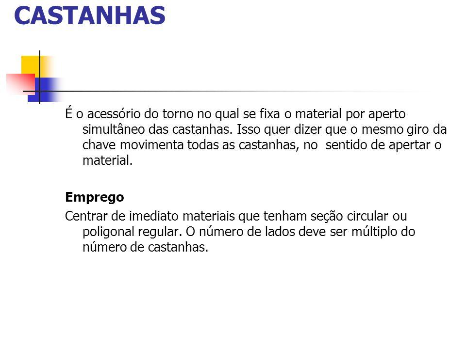 PLACA UNIVERSAL DE 3 CASTANHAS É o acessório do torno no qual se fixa o material por aperto simultâneo das castanhas. Isso quer dizer que o mesmo giro