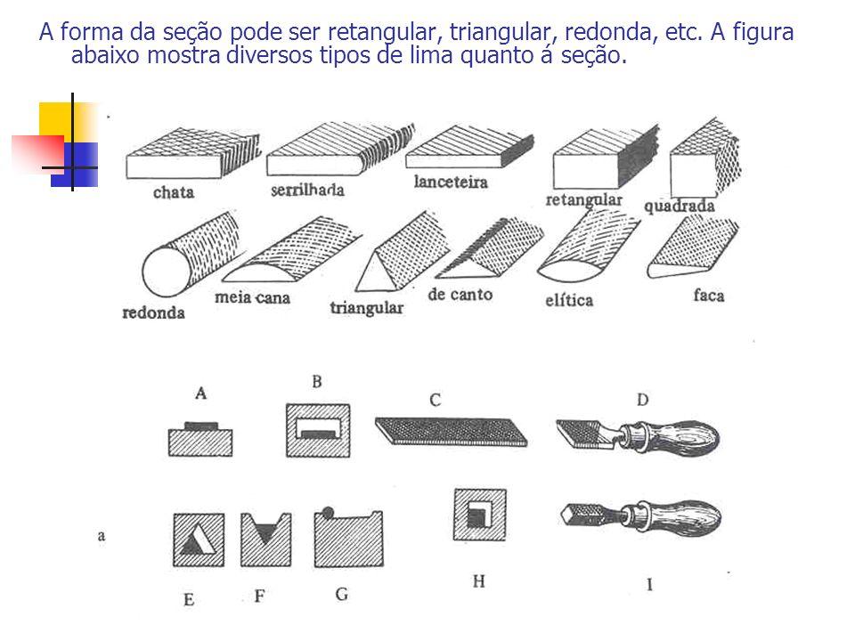 A forma da seção pode ser retangular, triangular, redonda, etc. A figura abaixo mostra diversos tipos de lima quanto á seção.