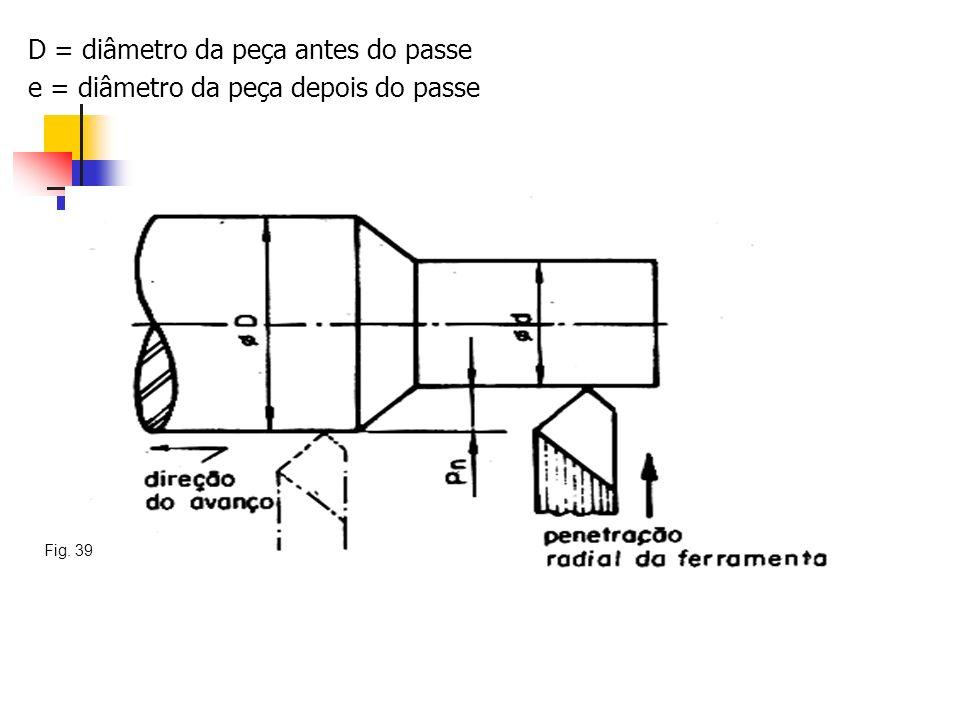 D = diâmetro da peça antes do passe e = diâmetro da peça depois do passe Fig. 39