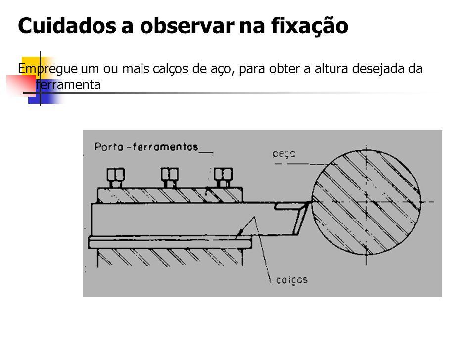 Cuidados a observar na fixação Empregue um ou mais calços de aço, para obter a altura desejada da ferramenta