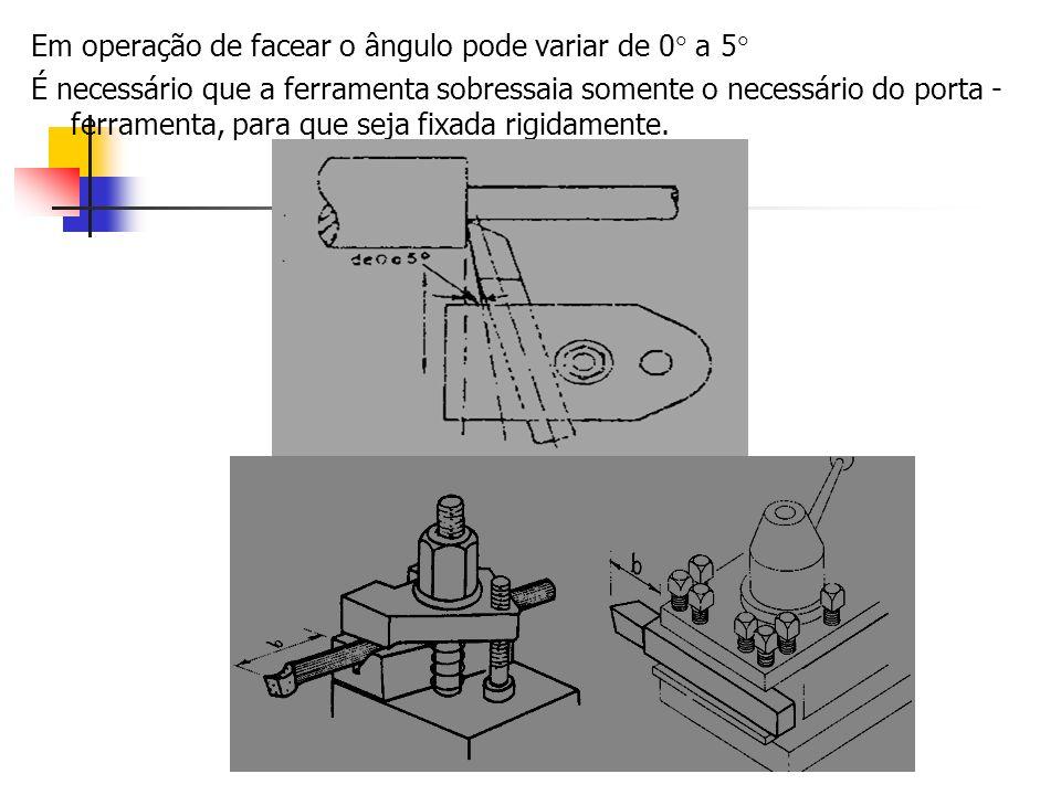 Em operação de facear o ângulo pode variar de 0 a 5 É necessário que a ferramenta sobressaia somente o necessário do porta - ferramenta, para que seja
