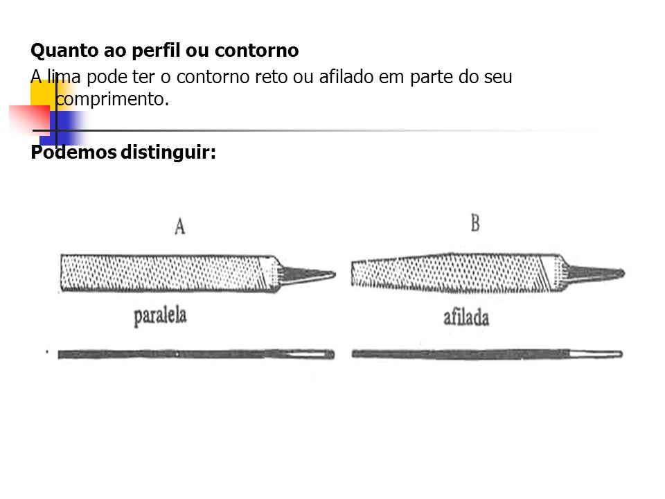 Quanto ao perfil ou contorno A lima pode ter o contorno reto ou afilado em parte do seu comprimento. Podemos distinguir: