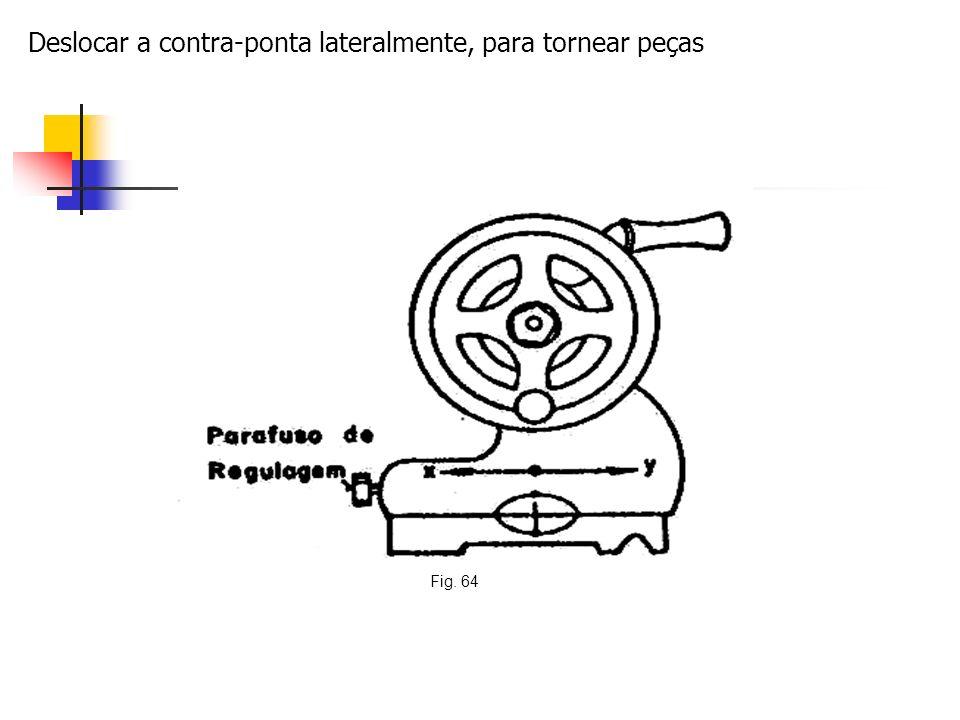 Deslocar a contra-ponta lateralmente, para tornear peças Fig. 64