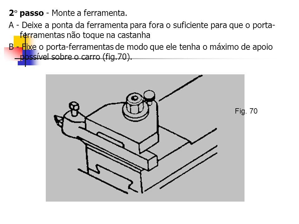 2 passo - Monte a ferramenta. A - Deixe a ponta da ferramenta para fora o suficiente para que o porta- ferramentas não toque na castanha B - Fixe o po