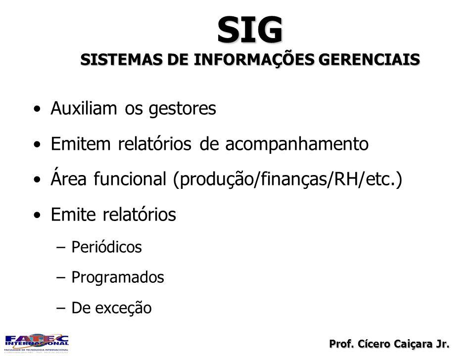 Prof. Cícero Caiçara Jr. SIG SISTEMAS DE INFORMAÇÕES GERENCIAIS SIG Auxiliam os gestores Emitem relatórios de acompanhamento Área funcional (produção/