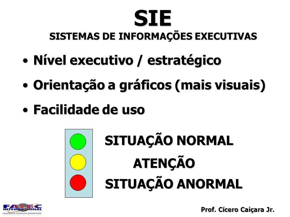 Prof. Cícero Caiçara Jr. SIE SISTEMAS DE INFORMAÇÕES EXECUTIVAS Nível executivo / estratégicoNível executivo / estratégico Orientação a gráficos (mais