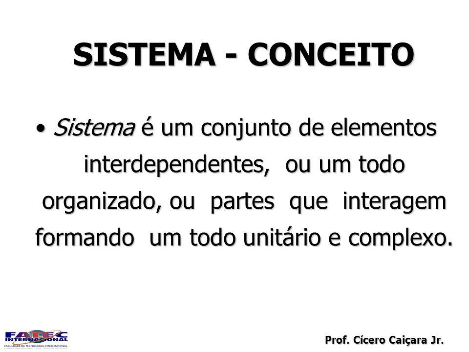 Prof. Cícero Caiçara Jr. SISTEMA - CONCEITO Sistema é um conjunto de elementos interdependentes, ou um todo organizado, ou partes que interagem forman