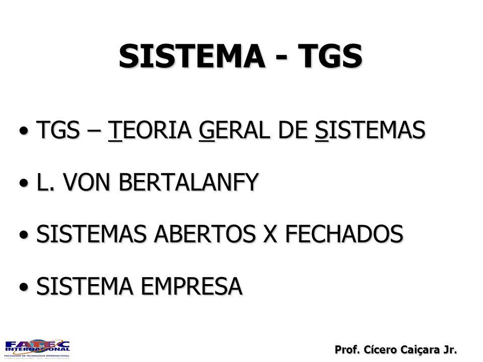 Prof. Cícero Caiçara Jr. SISTEMA - TGS TGS – TEORIA GERAL DE SISTEMASTGS – TEORIA GERAL DE SISTEMAS L. VON BERTALANFYL. VON BERTALANFY SISTEMAS ABERTO