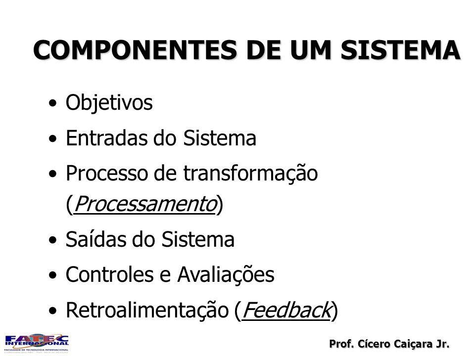 Prof. Cícero Caiçara Jr. COMPONENTES DE UM SISTEMA Objetivos Entradas do Sistema Processo de transformação (Processamento) Saídas do Sistema Controles