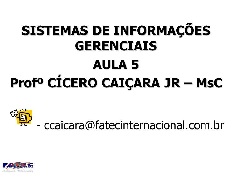 SISTEMAS DE INFORMAÇÕES GERENCIAIS AULA 5 Profº CÍCERO CAIÇARA JR – MsC - ccaicara@fatecinternacional.com.br SISTEMAS DE INFORMAÇÕES GERENCIAIS AULA 5