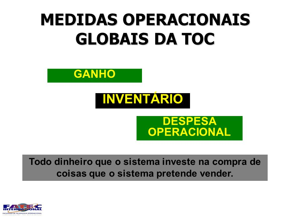 MEDIDAS OPERACIONAIS GLOBAIS DA TOC DESPESA OPERACIONAL INVENTÁRIO GANHO Todo dinheiro que o sistema investe na compra de coisas que o sistema pretend