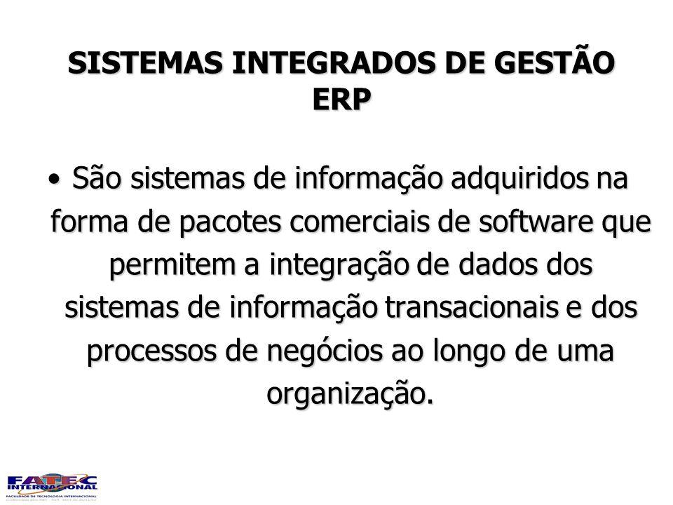 SISTEMAS INTEGRADOS DE GESTÃO ERP São sistemas de informação adquiridos na forma de pacotes comerciais de software que permitem a integração de dados