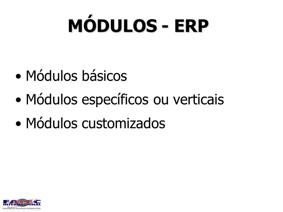 MÓDULOS - ERP Módulos básicos Módulos específicos ou verticais Módulos customizados Módulos básicos Módulos específicos ou verticais Módulos customiza