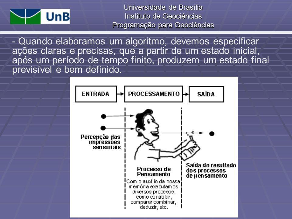 Universidade de Brasília Instituto de Geociências Programação para Geociências - Quando elaboramos um algoritmo, devemos especificar ações claras e pr