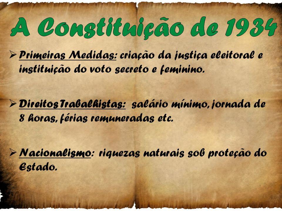 Primeiras Medidas: fechamento do congresso no- meação de interventores e suspensão da Constitui- ção de 1891. Rev. Constitucionalista: exigindo a cons