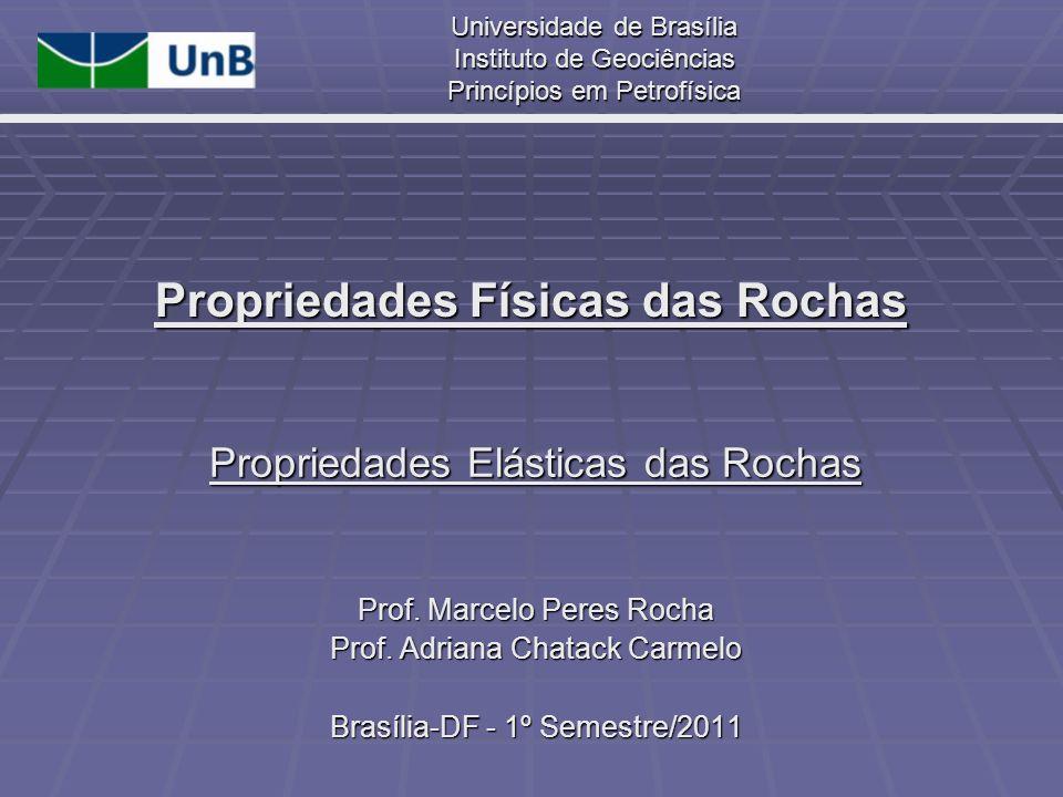 Universidade de Brasília Instituto de Geociências Princípios em Petrofísica Propriedades Físicas das Rochas Propriedades Elásticas das Rochas Prof. Ma