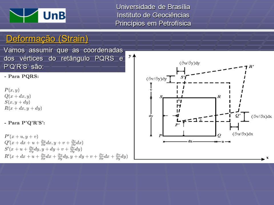Universidade de Brasília Instituto de Geociências Princípios em Petrofísica Vamos assumir que as coordenadas dos vértices do retângulo PQRS e PQRS são