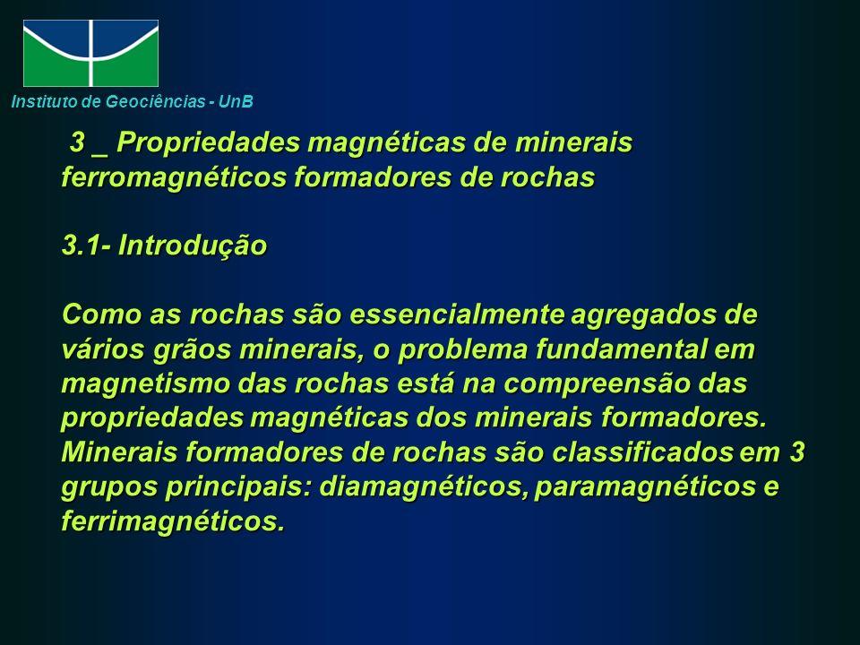 3 _ Propriedades magnéticas de minerais ferromagnéticos formadores de rochas 3.1- Introdução Como as rochas são essencialmente agregados de vários grã