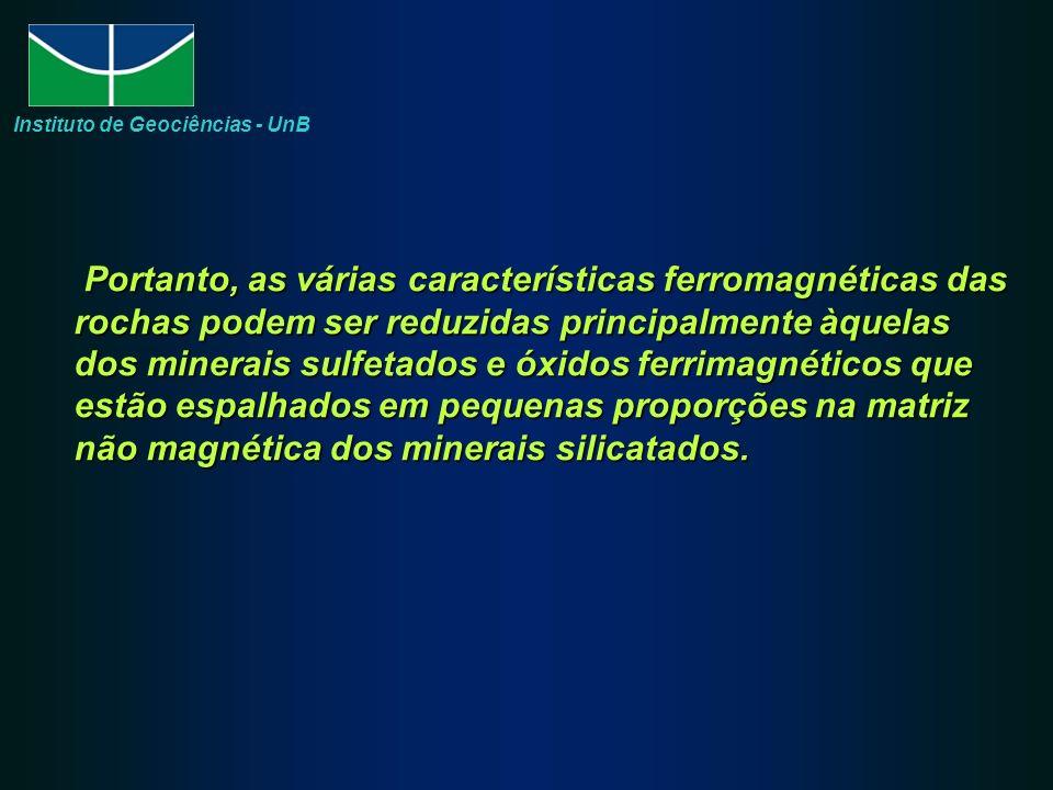 Portanto, as várias características ferromagnéticas das rochas podem ser reduzidas principalmente àquelas dos minerais sulfetados e óxidos ferrimagnét