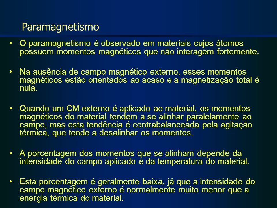 O paramagnetismo é observado em materiais cujos átomos possuem momentos magnéticos que não interagem fortemente. Na ausência de campo magnético extern