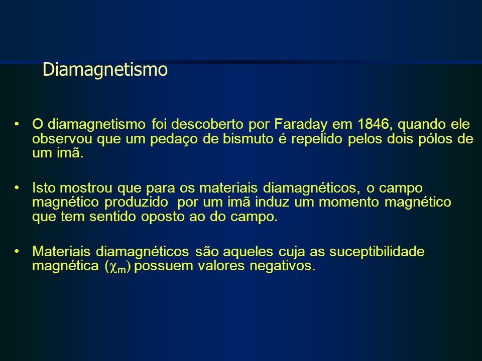 O diamagnetismo foi descoberto por Faraday em 1846, quando ele observou que um pedaço de bismuto é repelido pelos dois pólos de um imã. Isto mostrou q