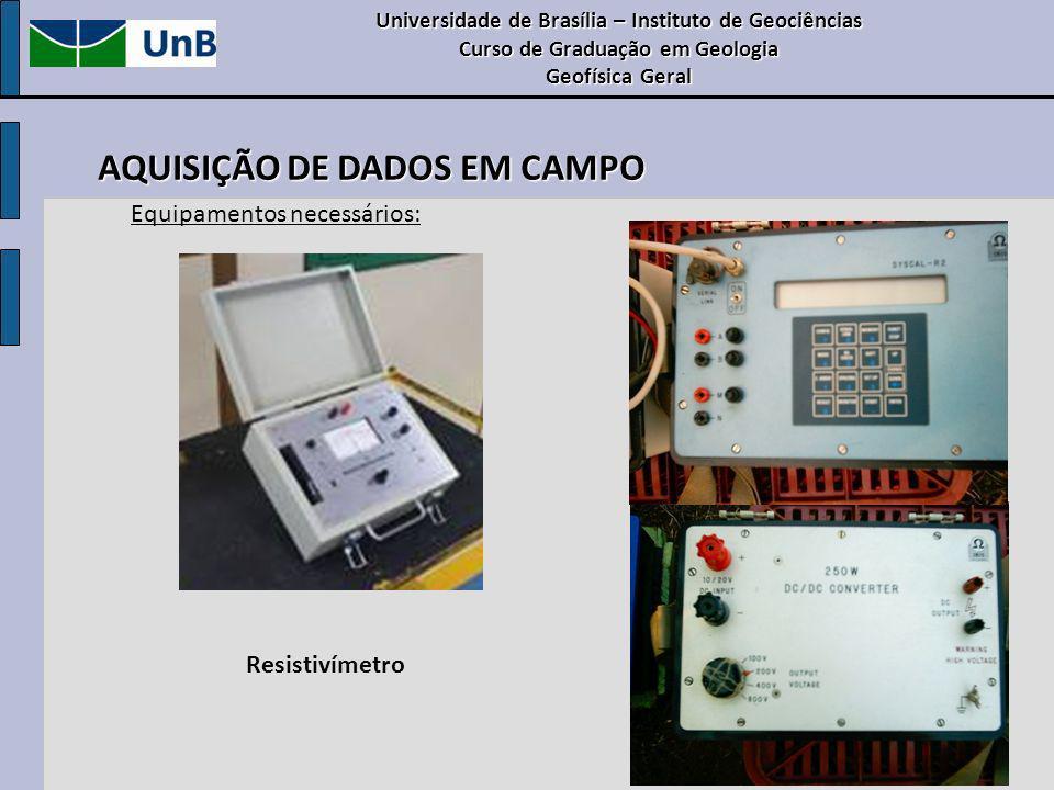 Resistivímetro Universidade de Brasília – Instituto de Geociências Curso de Graduação em Geologia Geofísica Geral AQUISIÇÃO DE DADOS EM CAMPO Equipame