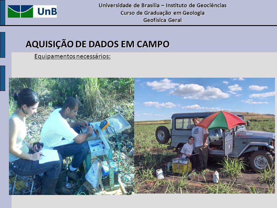 Universidade de Brasília – Instituto de Geociências Curso de Graduação em Geologia Geofísica Geral AQUISIÇÃO DE DADOS EM CAMPO Equipamentos necessário