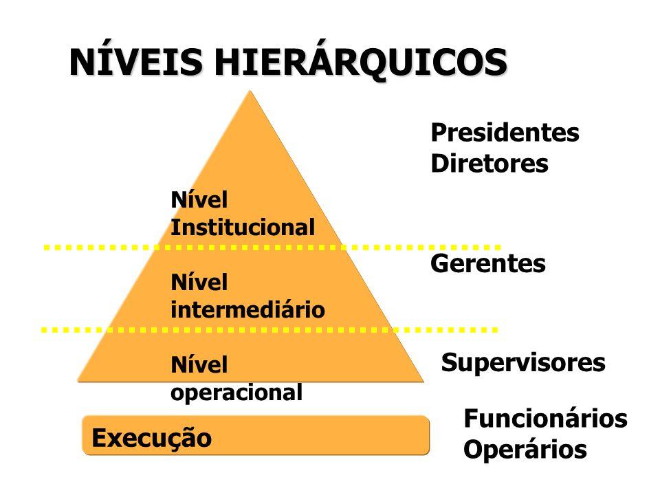 NÍVEIS HIERÁRQUICOS Nível Institucional Nível intermediário Nível operacional Execução Presidentes Diretores Gerentes Supervisores Funcionários Operár