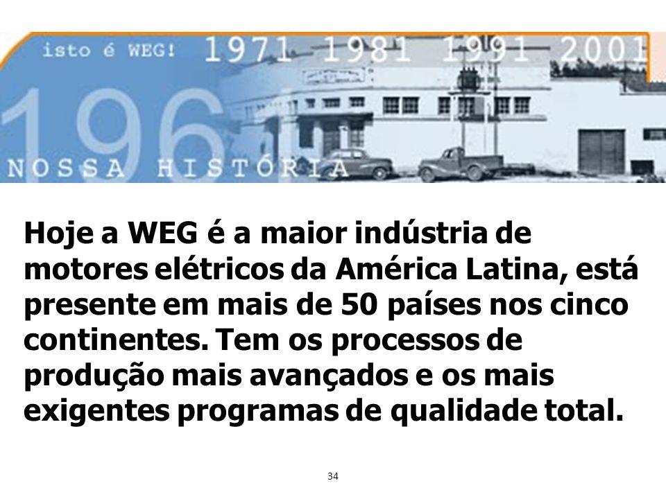 34 Hoje a WEG é a maior indústria de motores elétricos da América Latina, está presente em mais de 50 países nos cinco continentes. Tem os processos d