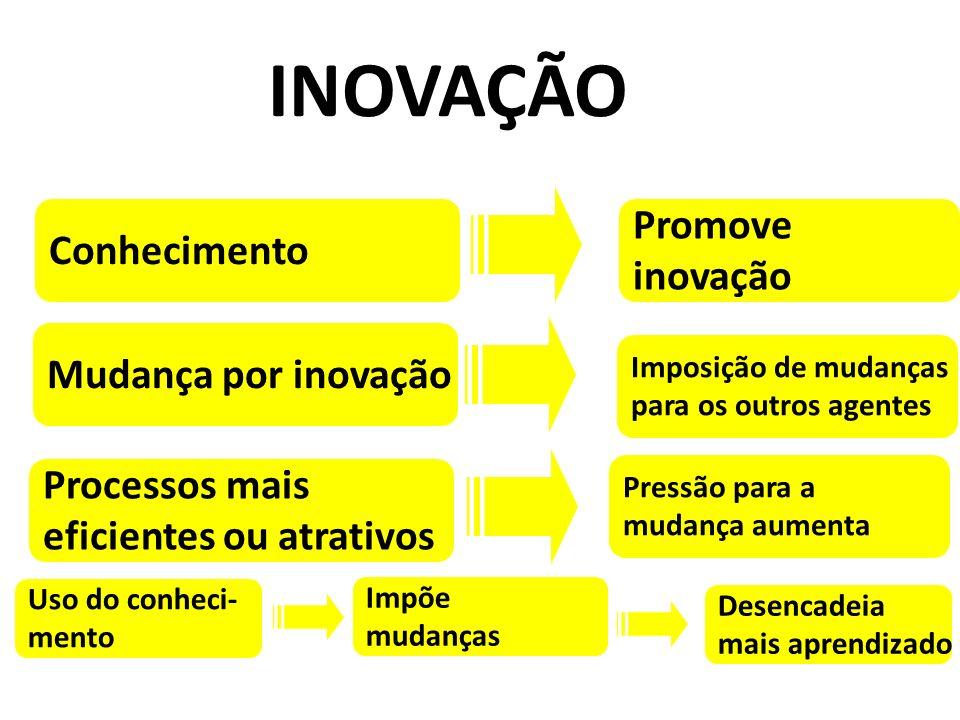 Promove inovação Conhecimento Mudança por inovação Processos mais eficientes ou atrativos Imposição de mudanças para os outros agentes Pressão para a