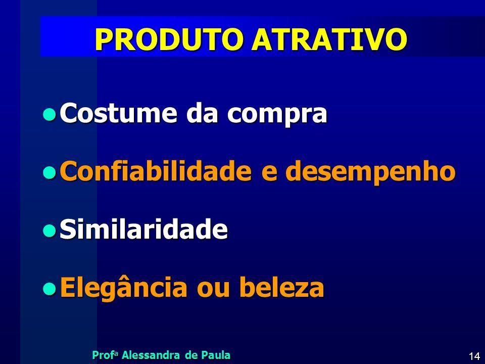 Prof a Alessandra de Paula 14 PRODUTO ATRATIVO Costume da compra Costume da compra Confiabilidade e desempenho Confiabilidade e desempenho Similaridad