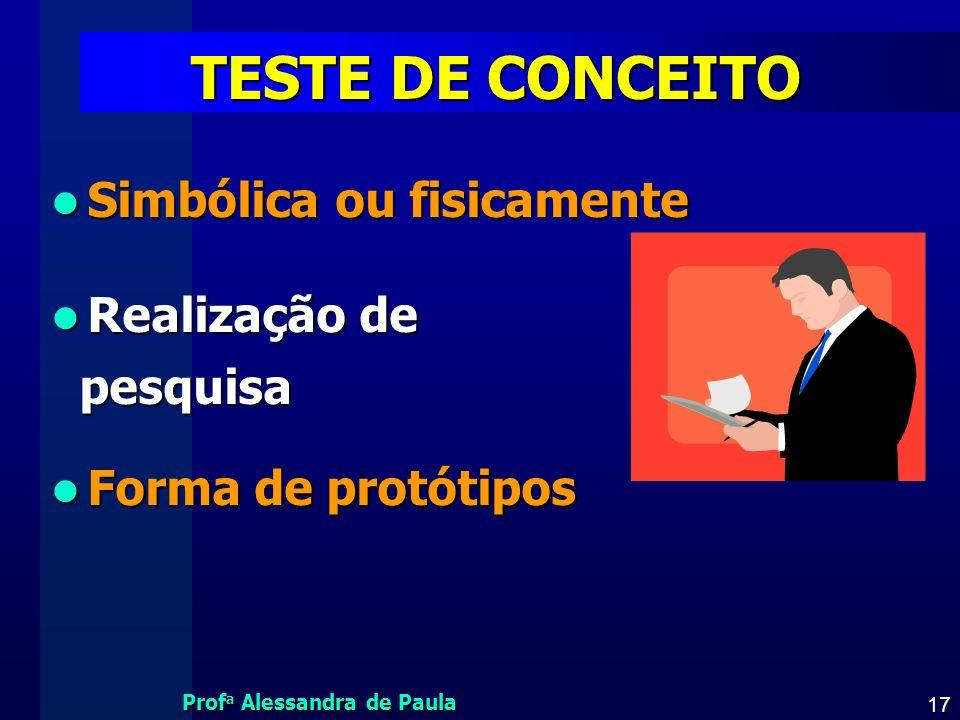 Prof a Alessandra de Paula 17 TESTE DE CONCEITO Simbólica ou fisicamente Simbólica ou fisicamente Realização de Realização de pesquisa pesquisa Forma