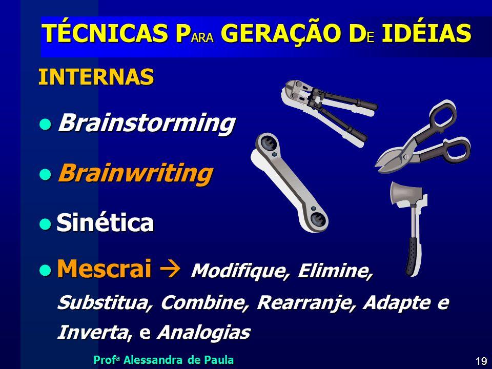 Prof a Alessandra de Paula 19 TÉCNICAS P ARA GERAÇÃO D E IDÉIAS INTERNAS Brainstorming Brainstorming Brainwriting Brainwriting Sinética Sinética Mescr