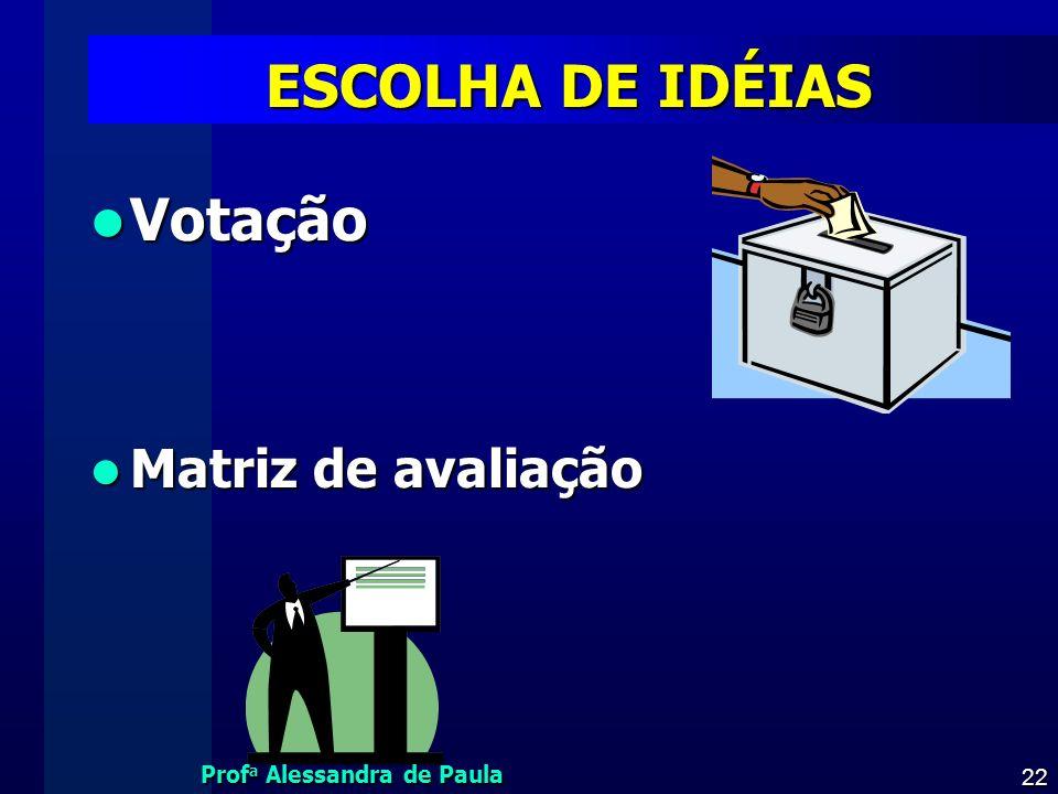 Prof a Alessandra de Paula 22 ESCOLHA DE IDÉIAS Votação Votação Matriz de avaliação Matriz de avaliação