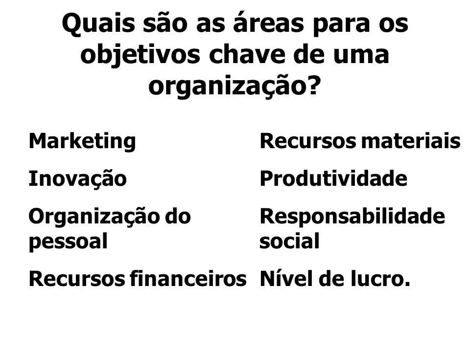 Quais são as áreas para os objetivos chave de uma organização? Marketing Inovação Organização do pessoal Recursos financeiros Recursos materiais Produ