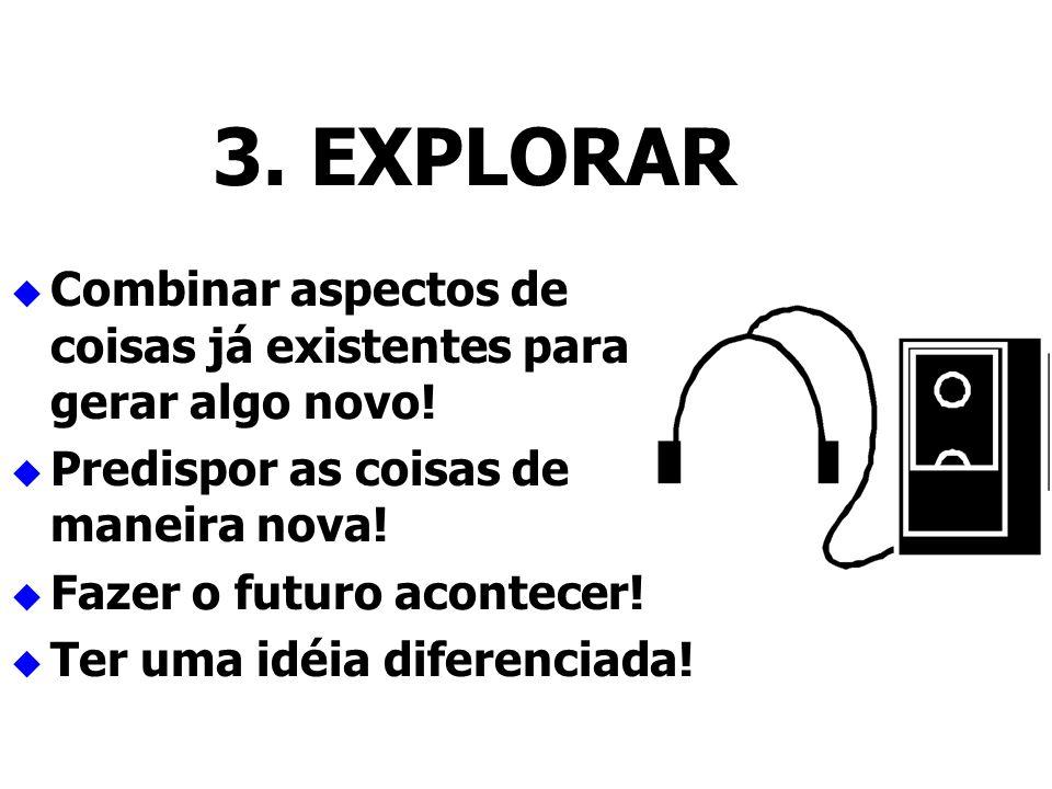 3. EXPLORAR Combinar aspectos de coisas já existentes para gerar algo novo! Predispor as coisas de maneira nova! Fazer o futuro acontecer! Ter uma idé