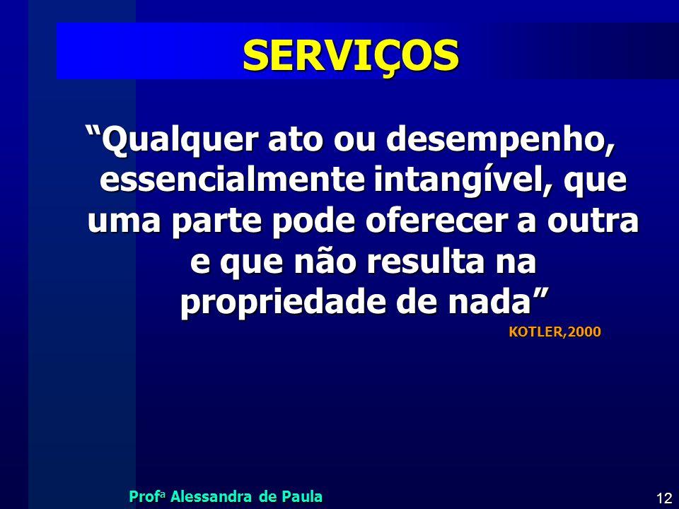 Prof a Alessandra de Paula 12 SERVIÇOS Qualquer ato ou desempenho, essencialmente intangível, que uma parte pode oferecer a outra e que não resulta na
