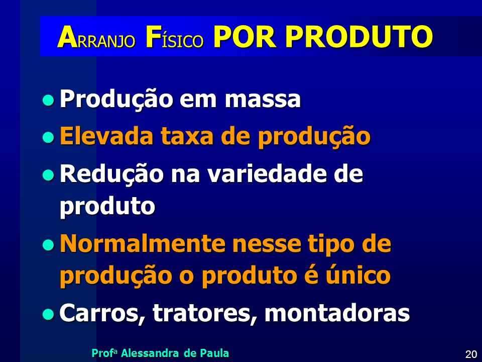 Prof a Alessandra de Paula 20 A RRANJO F ÍSICO POR PRODUTO A RRANJO F ÍSICO POR PRODUTO Produção em massa Produção em massa Elevada taxa de produção E