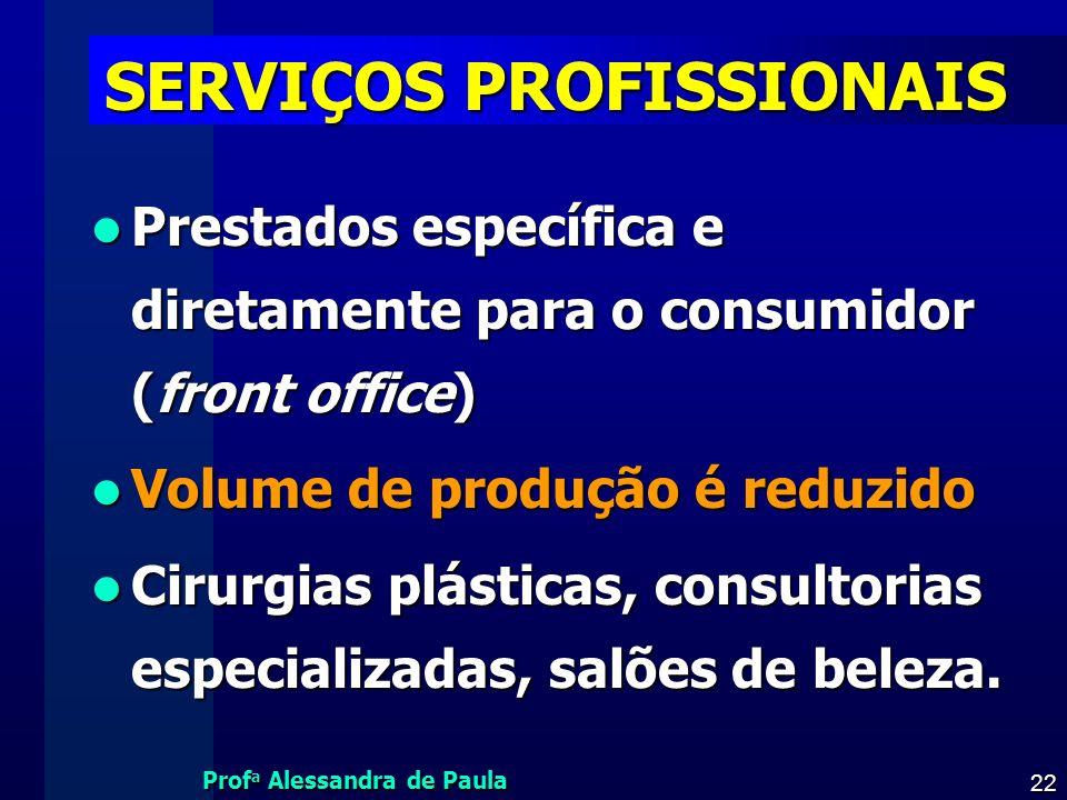 Prof a Alessandra de Paula 22 SERVIÇOS PROFISSIONAIS Prestados específica e diretamente para o consumidor (front office) Prestados específica e direta