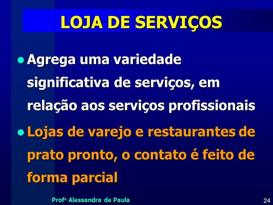 Prof a Alessandra de Paula 24 LOJA DE SERVIÇOS Agrega uma variedade significativa de serviços, em relação aos serviços profissionais Agrega uma varied