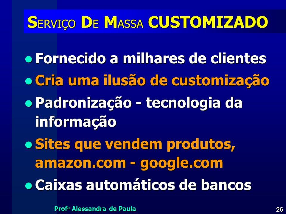 Prof a Alessandra de Paula 26 S ERVIÇO D E M ASSA CUSTOMIZADO Fornecido a milhares de clientes Fornecido a milhares de clientes Cria uma ilusão de cus