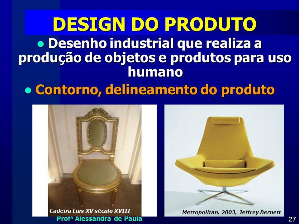 Prof a Alessandra de Paula 27 DESIGN DO PRODUTO Desenho industrial que realiza a produção de objetos e produtos para uso humano Desenho industrial que