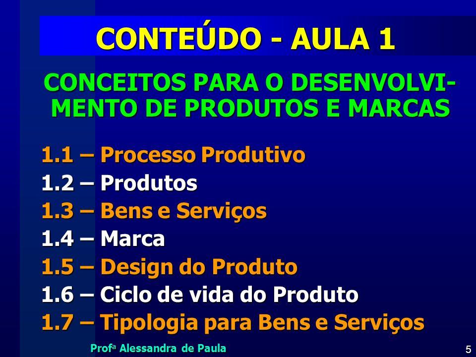 Prof a Alessandra de Paula 5 CONTEÚDO - AULA 1 CONCEITOS PARA O DESENVOLVI- MENTO DE PRODUTOS E MARCAS 1.1 – Processo Produtivo 1.2 – Produtos 1.3 – B