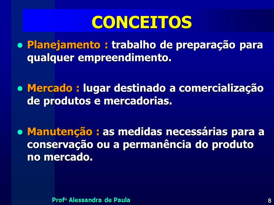 Prof a Alessandra de Paula 8 CONCEITOS Planejamento : trabalho de preparação para qualquer empreendimento. Planejamento : trabalho de preparação para