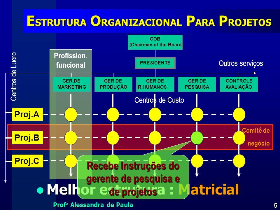 Prof a Alessandra de Paula 6 ÁREAS DO PROJETO DO PRODUTO AdministraçãoGeral Área de Aplicação Conhecimento Gerencia de PROJETOdoPRODUTO Competências Área técnica do produto Área gestão do projeto PMI,2006