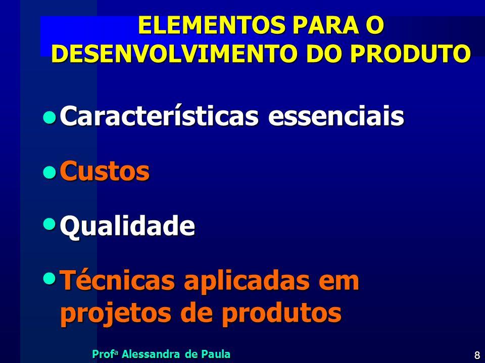 Prof a Alessandra de Paula 29 TÉCNICAS - PRODUTOS SUSTENTÁVEIS Design for environment (DFE) Design for environment (DFE) –Projeto de produto adaptado ao ambiente –a organização responsabiliza-se por todos os recursos de produção –avalia as disponibilidades dos recursos naturais e dos processos necessários à fabricação