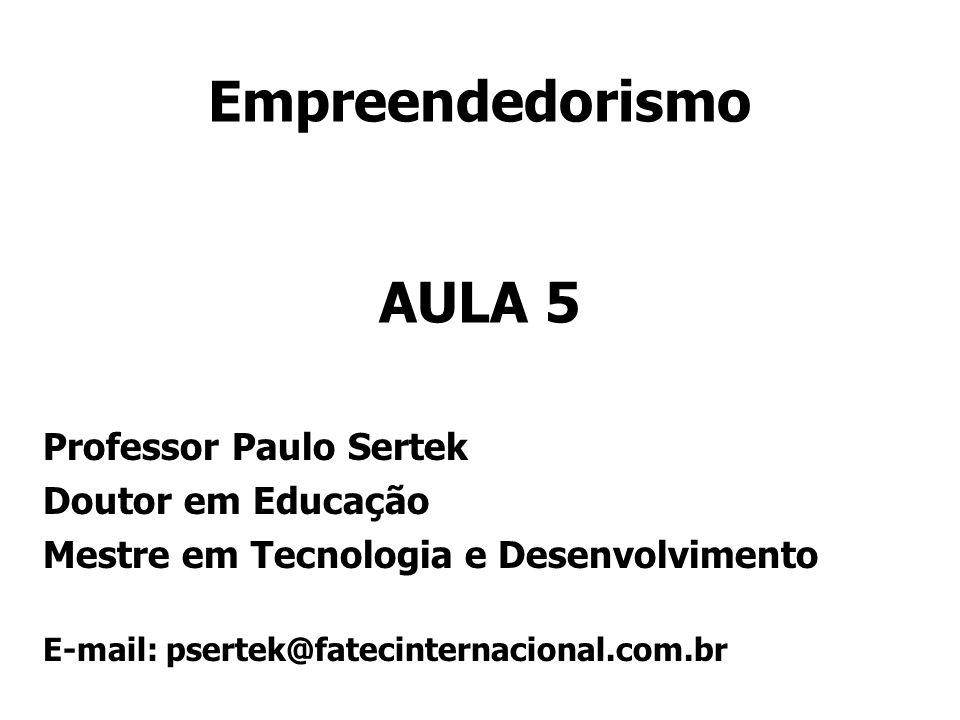 Empreendedorismo AULA 5 Professor Paulo Sertek Doutor em Educação Mestre em Tecnologia e Desenvolvimento E-mail: psertek@fatecinternacional.com.br