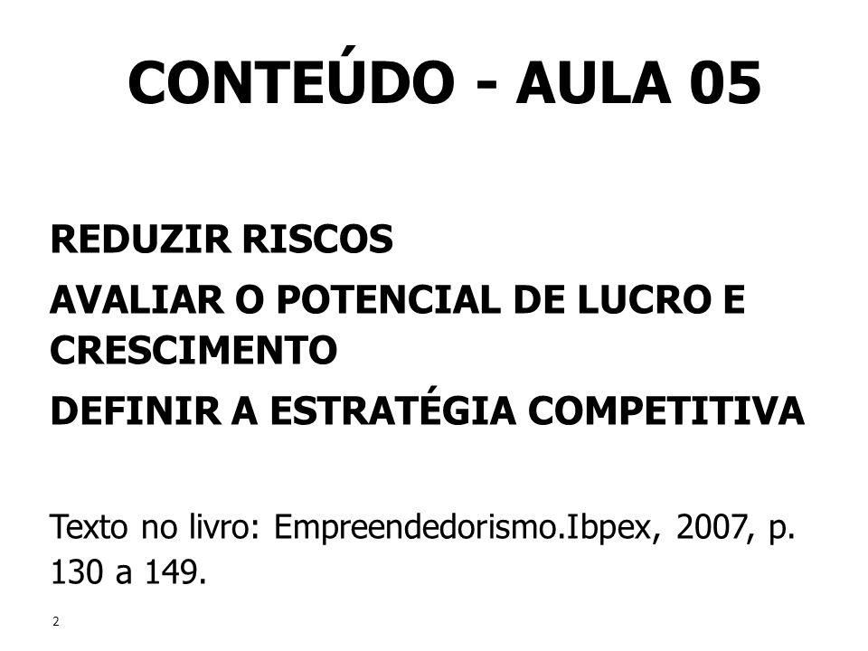 2 2 CONTEÚDO - AULA 05 REDUZIR RISCOS AVALIAR O POTENCIAL DE LUCRO E CRESCIMENTO DEFINIR A ESTRATÉGIA COMPETITIVA Texto no livro: Empreendedorismo.Ibp